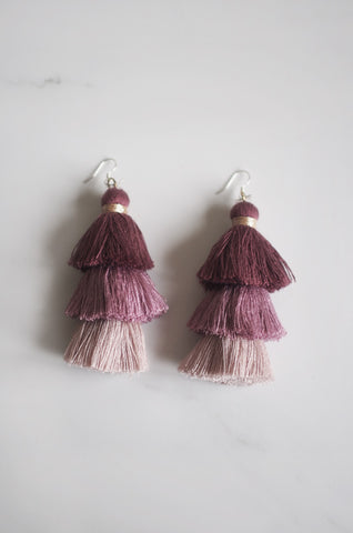 Cloir Layered Tasseled Earrings in Mauve [BACKORDER]