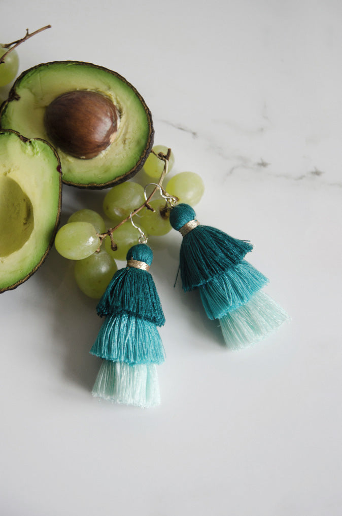 Cloir Layered Tasseled Earrings in Pastel Green [35% OFF]
