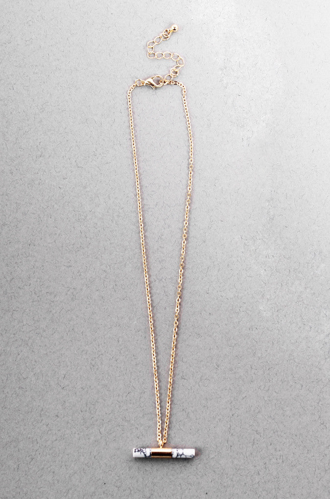 87787c887993d Cylindrical Howlite Bar Necklace in Gold [33% OFF]
