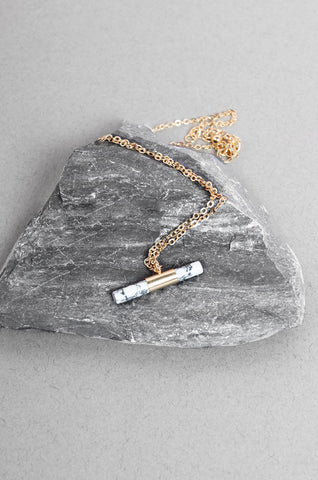 Cylindrical Howlite Bar Necklace in Gold [33% OFF]