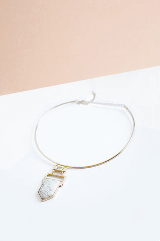 Cytron White Marble Choker in Gold [LAST PIECE]