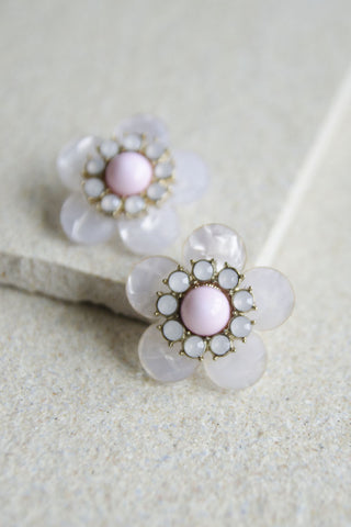 Hestia Floral Opal Studs in Pink [LAST PIECE]