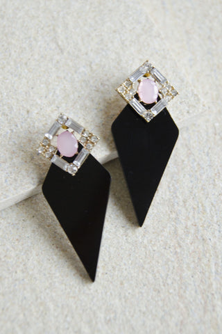Clio Gem and Acrylic Earrings in Black [LAST PIECE]