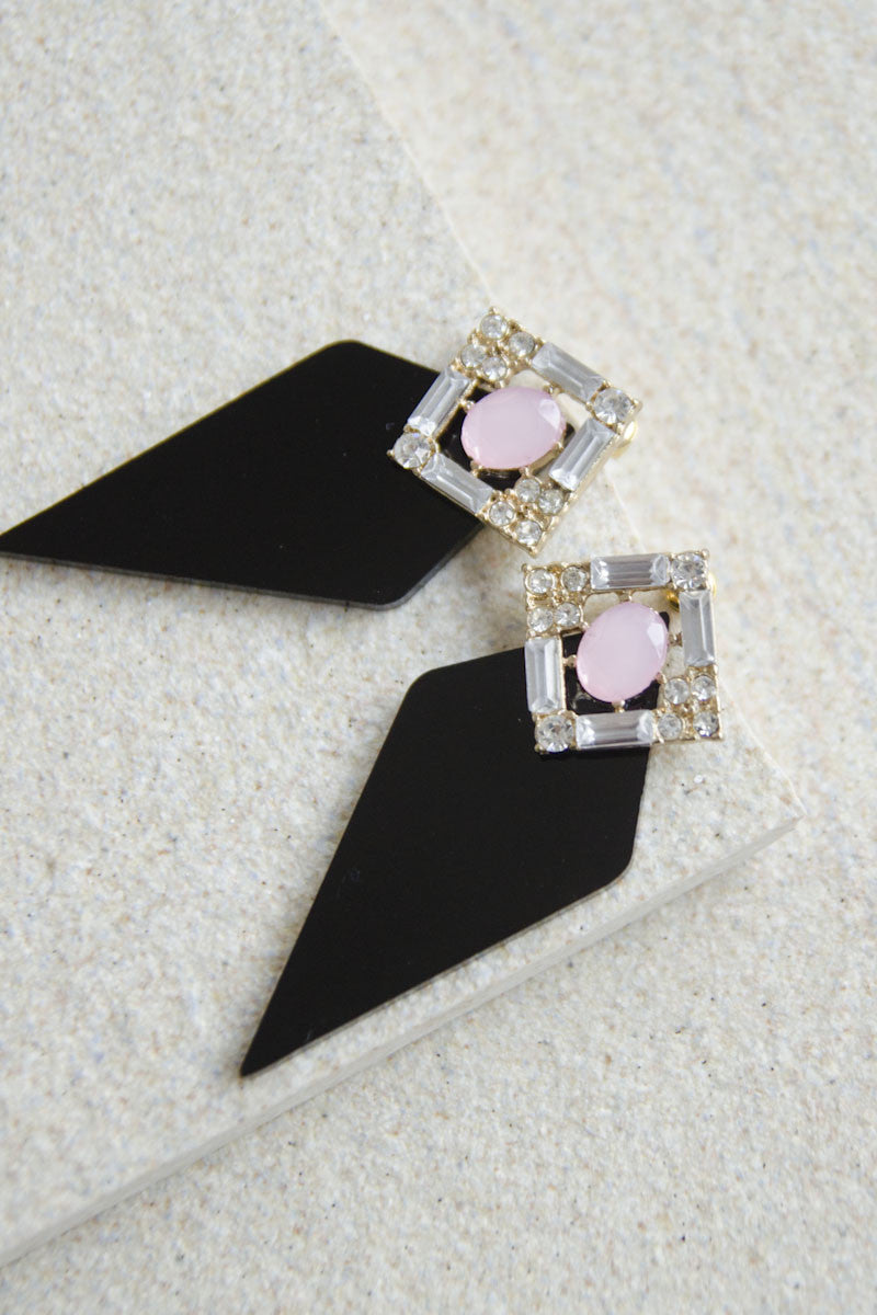 Clio Gem and Acrylic Earrings in Black [48% OFF]