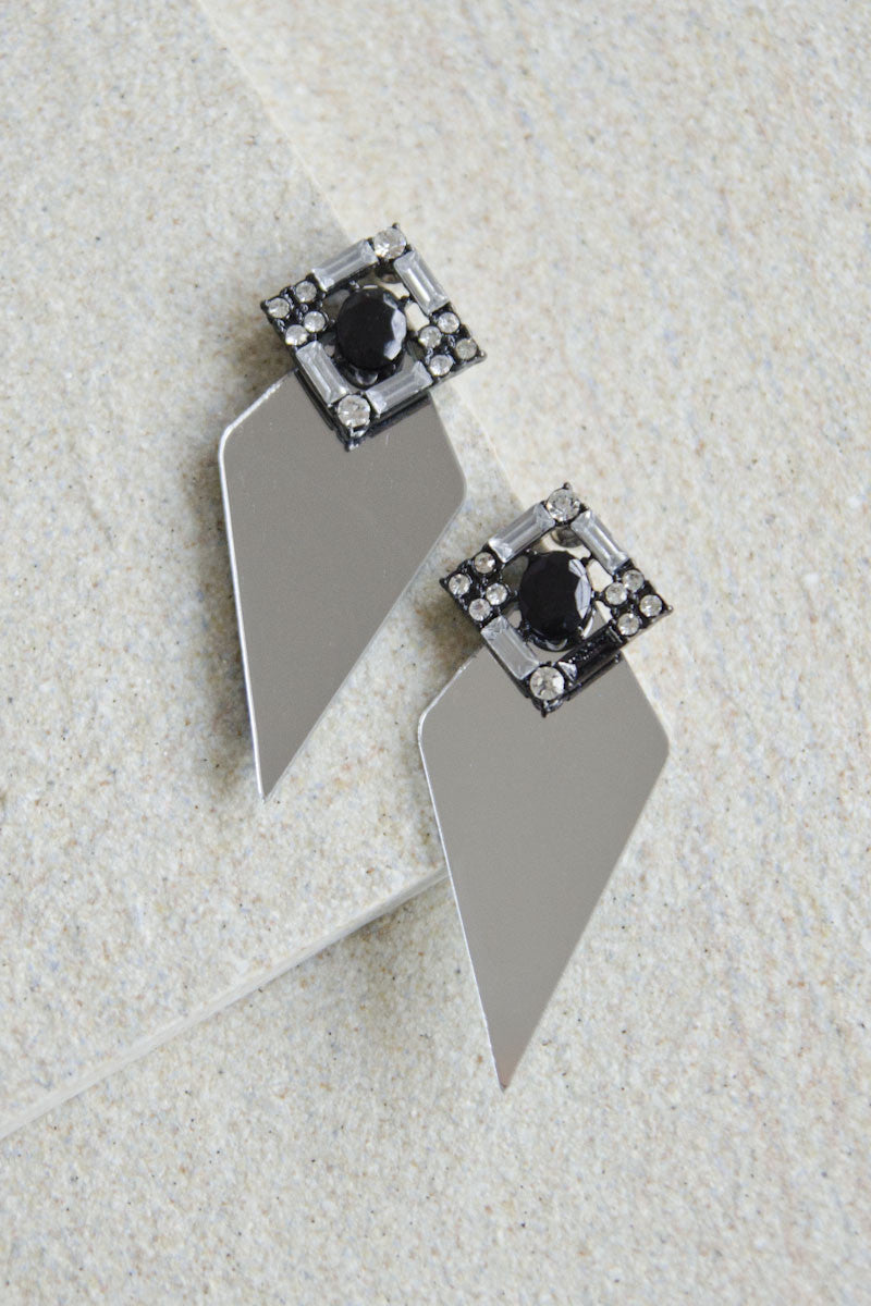 Clio Gem and Acrylic Earrings with Mirror Base [LAST PIECE]
