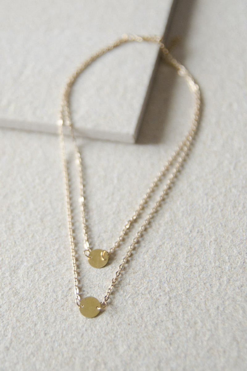 Circle Plate Duo Necklace in Brass [40% OFF]