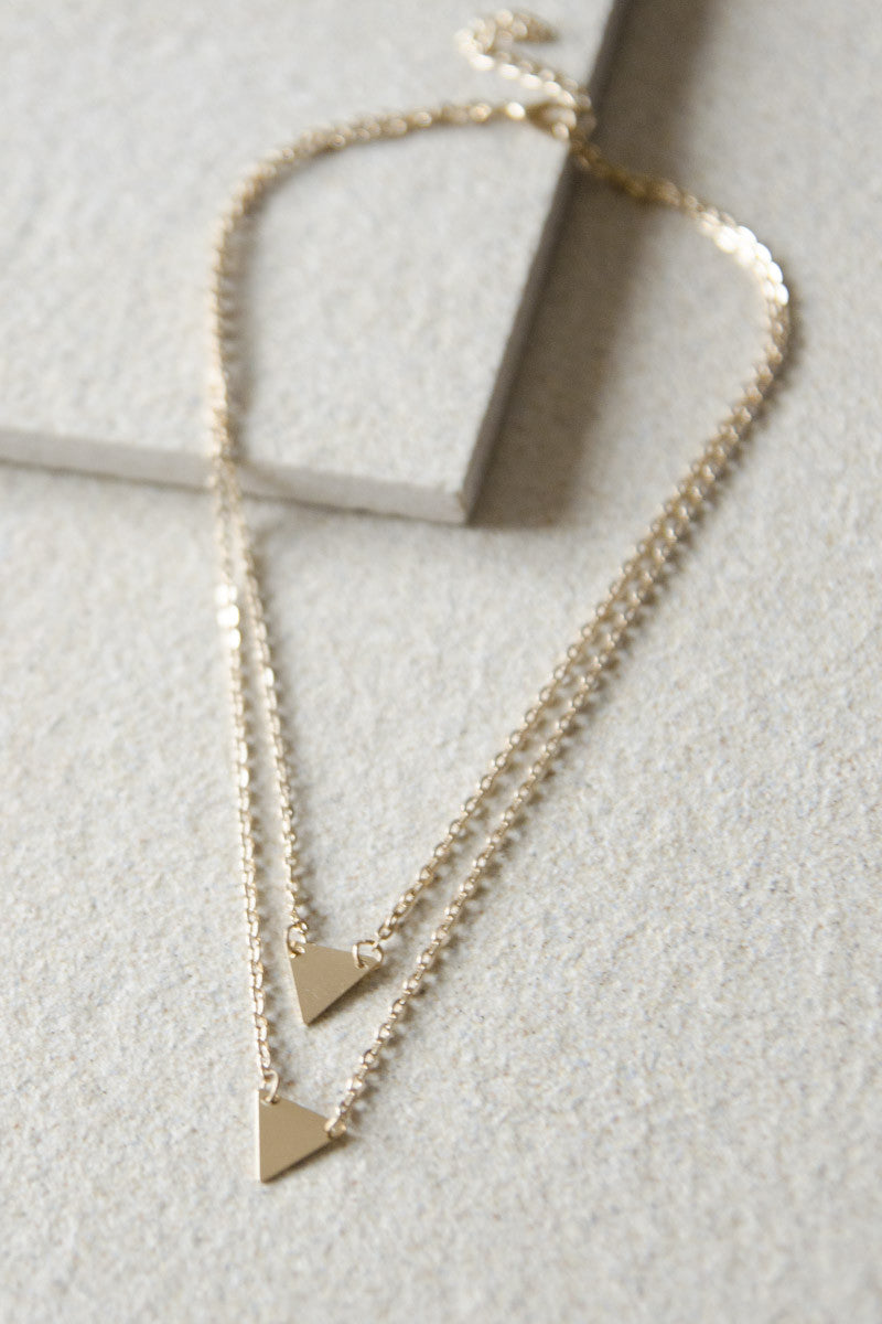 Triangle Plate Duo Necklace [38% OFF]