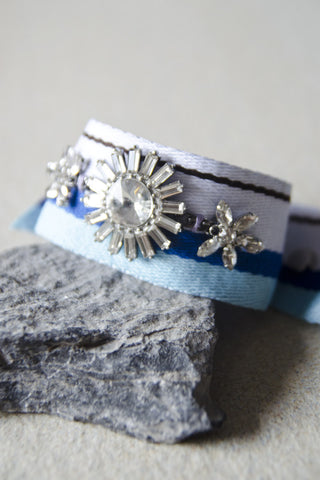 Admetus Trio Crystal Wrap Bracelet (White/Blue) [65% OFF]
