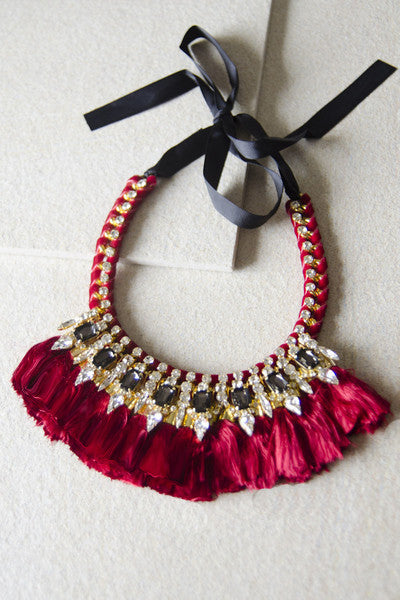 Alcestis Velvet Tassel Necklace in Wine Red