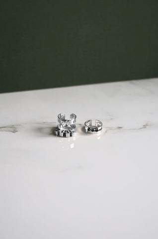Daigh Crystal Ring Set in Silver