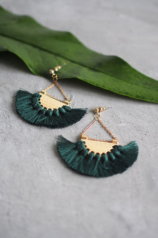 Dhoire Fan Earrings in Forest Green [BACKORDER]