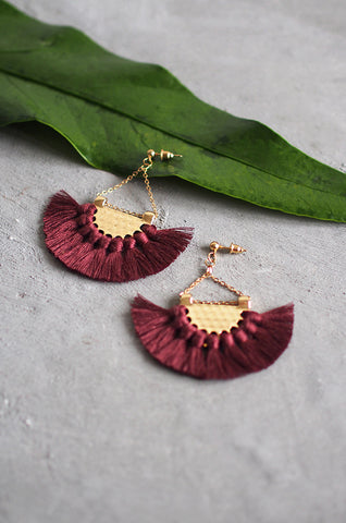 Dhoire Fan Earrings in Maroon [BACKORDER]