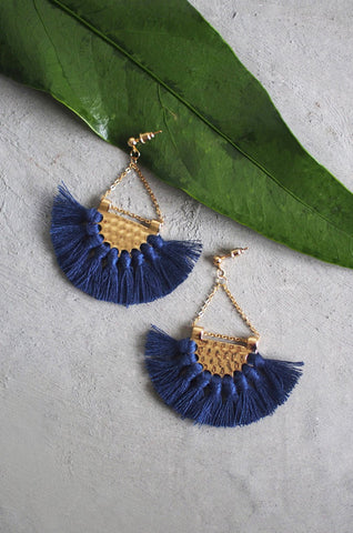 Dhoire Fan Earrings in Navy [BACKORDER]