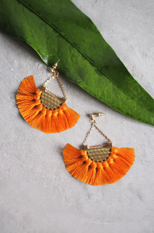 Dhoire Fan Earrings in Orange