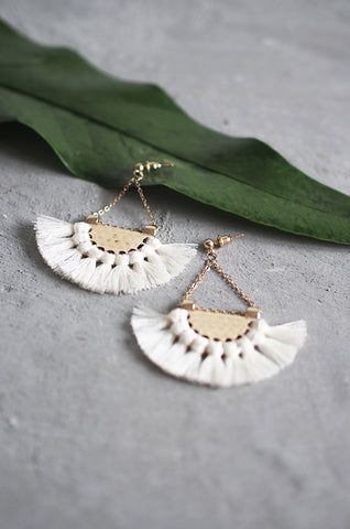 Dhoire Fan Earrings in White [BACKORDER]
