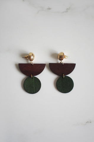 Dru Wooden Earrings in Green