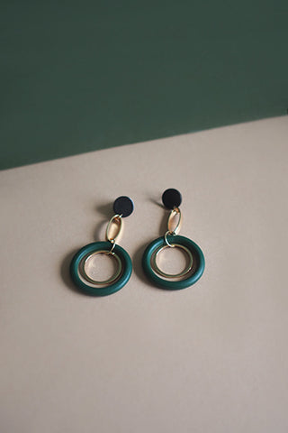 Leisel Wooden Earrings in Green & Pink [22% OFF]