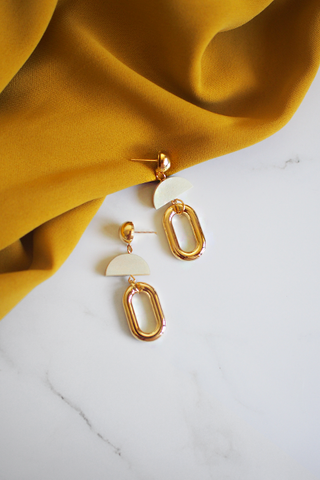 Feival Earrings in White Wood [22% OFF]