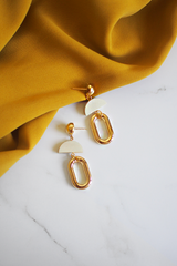 Feival Earrings in White Wood