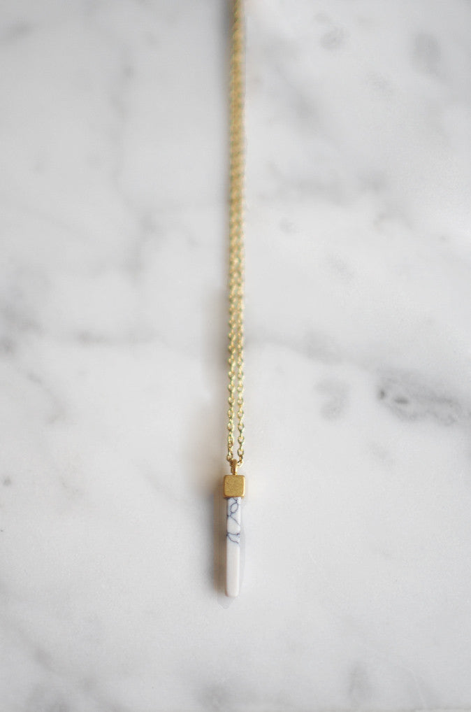 Gold Drip Necklace in White Howlite [LAST PIECE]