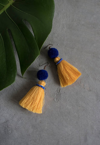 Hadassah Ear Pom Tassel in Blue & Yellow