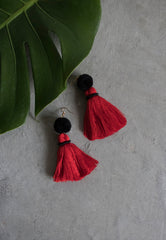Hadassah Ear Pom Tassel in Black & Red