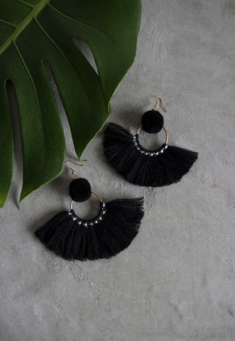 Hadassah Ear Pom Fan Earring in Black [27% OFF]