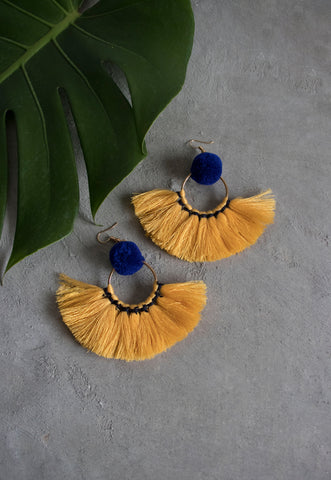 Hadassah Ear Pom Fan Earring in Blue & Yellow