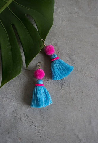 Hadassah Ear Pom Tassel in Pink & Blue [27% OFF]