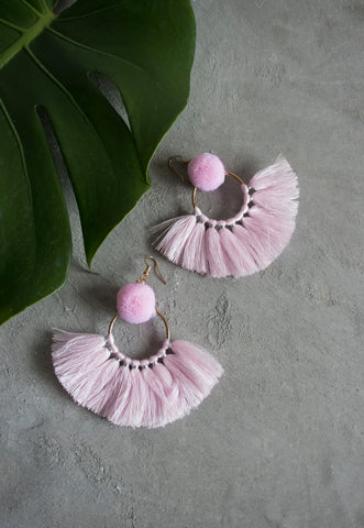 Hadassah Ear Pom Fan Earring in Pink