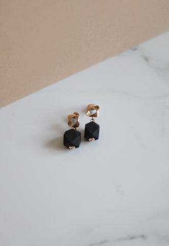 Haya Wooden Earrings in Black