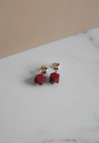 Haya Wooden Earrings in Maroon