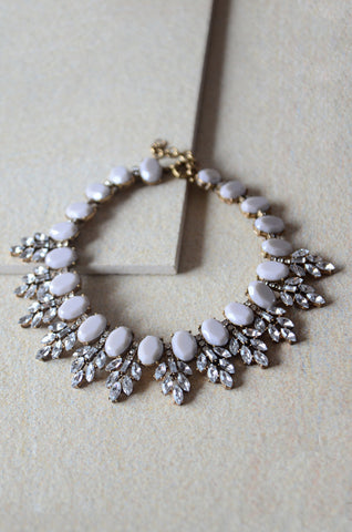Hecuba Gem and Crystal Collar Necklace in Grey