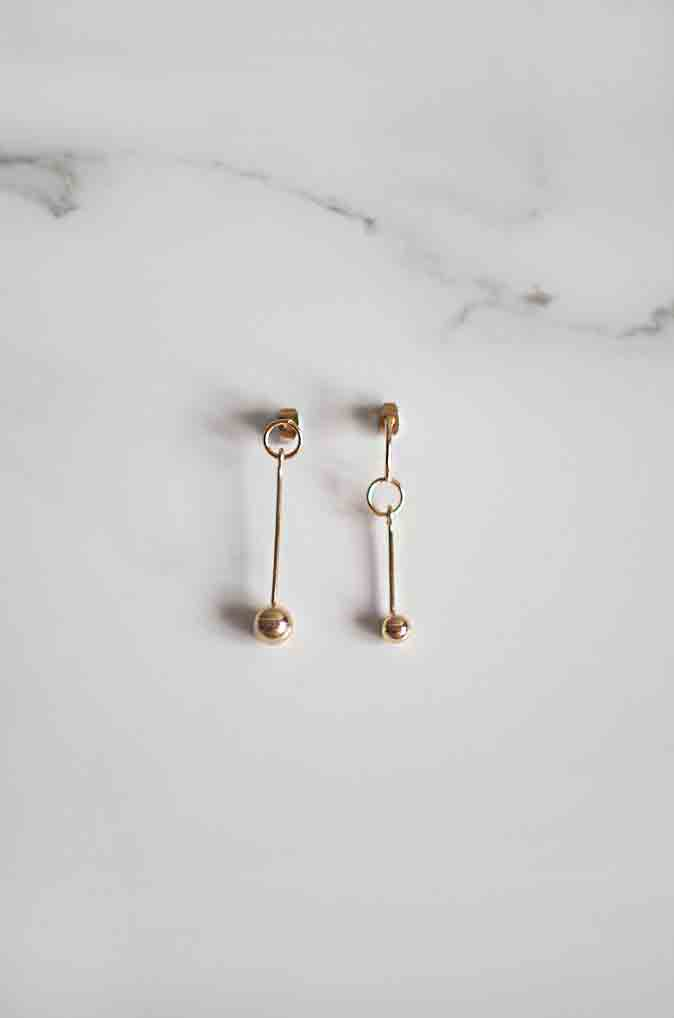 Hek Asymmetrical Earrings in Gold