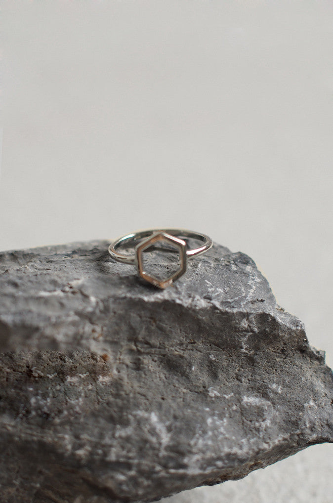 Geometric Hexagon Ring in Silver [60% OFF]
