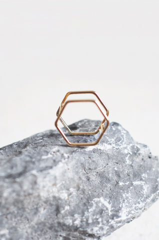 Hexagon Stacked Ring in Gold