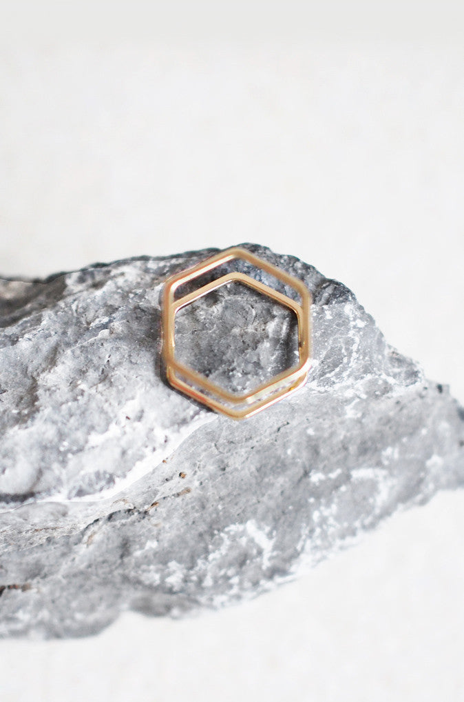 Hexagon Stacked Ring in Gold [38% OFF]