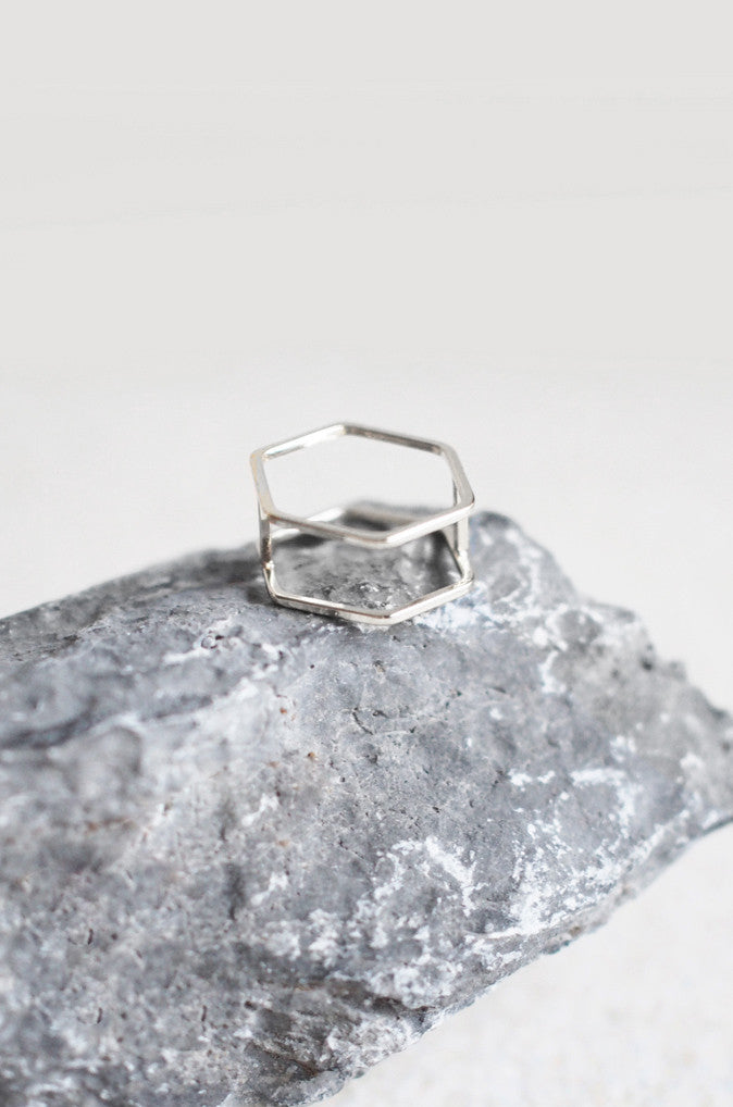 Hexagon Stacked Ring in Silver [38% OFF]