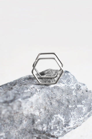 Hexagon Stacked Ring in Silver