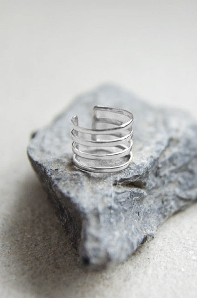 Hyperion Three Tier Ring in Silver