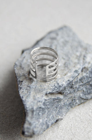 Hyperion Three Tier Ring in Silver [40% OFF]