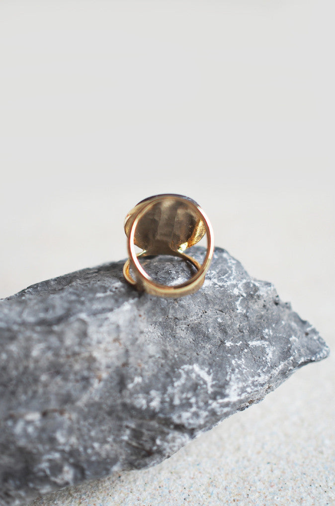 Hypnos Marbled Ring with Black Marble in Gold [LAST PIECE]