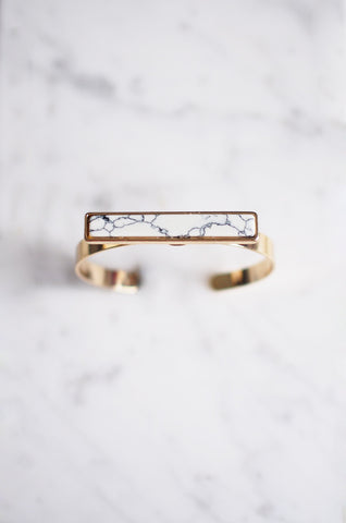 Iontach Bar Bracelet in White Marble