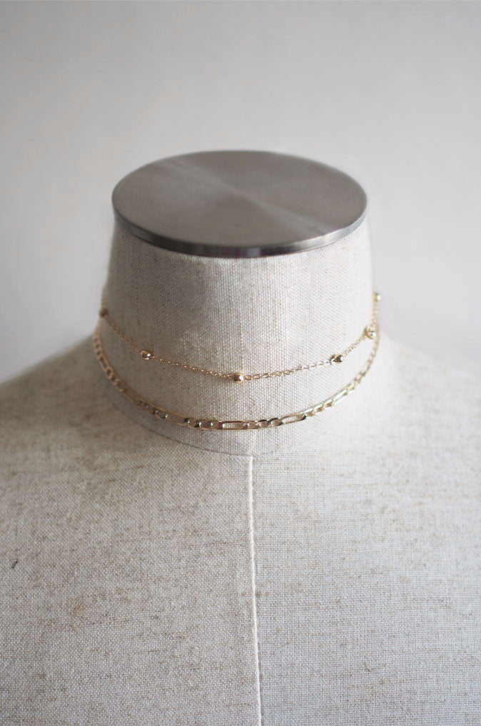Iosta Chain Choker Set in Gold