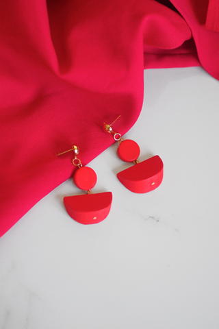 Jael Geometric Wooden Earrings in Pink