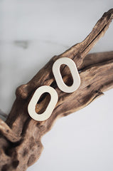 Kud Wooden Earrings in White