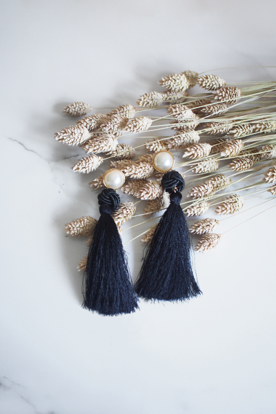 Lael Tassel Earrings in Black [30% OFF]