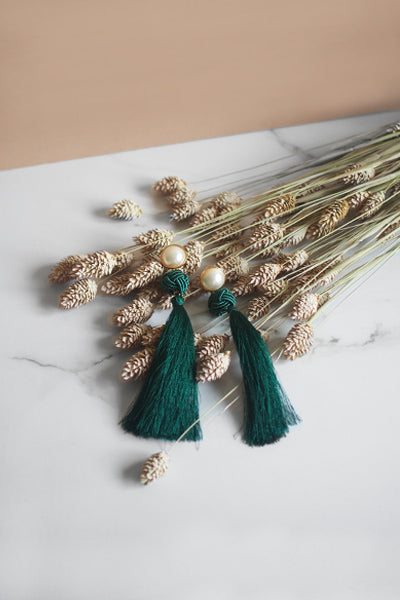 Lael Tassel Earrings in Green