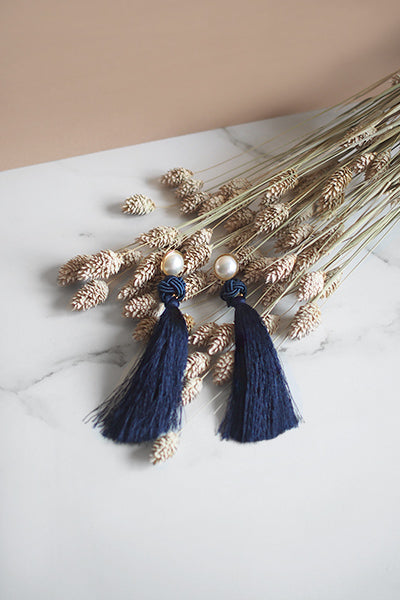 Lael Tassel Earrings in Navy