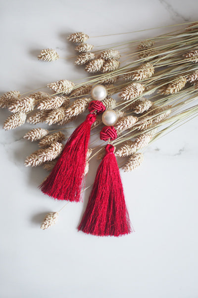 Lael Tassel Earrings in Red